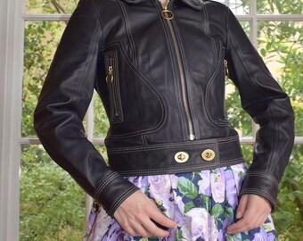 Coach Leather Cropped Moto Jacket