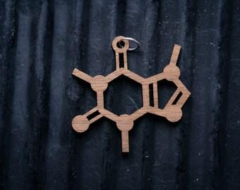 Caffeine Molecule Necklace pendant