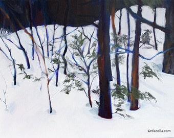 "Original oil painting ""Border II (trees in snow)"" 18"" x 14"""
