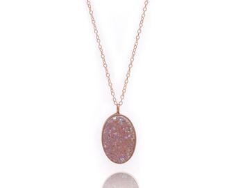 Druzy Necklace - Large Druzy Pendant Necklace - Aurora Borealis Druzy in Rose Gold Necklace - Big Druzy Chain Necklace - Oval Druzy