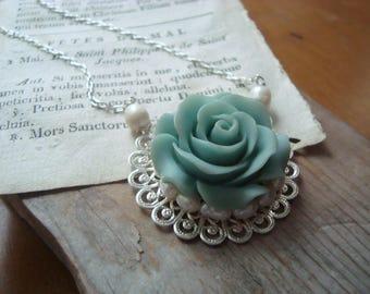 Green Rose Bridal Necklace Pearl Jewelry Silver Filigree Wedding Jewelry June Birthstone Flower Jewelry Floral Garden OOAK