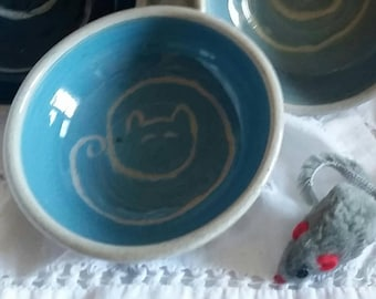 Pottery Cat Bowls, Ceramic Dipping Bowls with Cat Design, Stoneware Condiment Dishes, Wheel Thrown Ice Cream Bowls in  Red, Blue and Teal