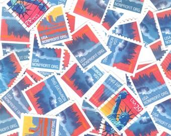 40 Blue Coral Vintage Postage Stamps
