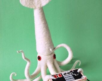 Print: Squid Gamer - video game controller green white otaku toy felt art craft photo NES retro walldecor HineMizushima nintendo digital