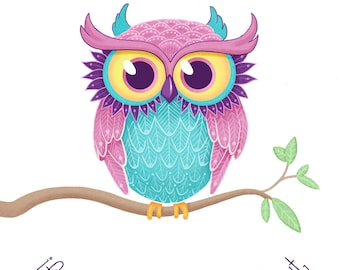 Cute Owl Illustration Art Print 5x7