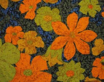 "Batik Tie Dyed Floral Cotton Fabric - 50"" x 50"" - Orange,Green, Blue, Brown"