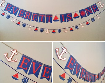 Nautical high chair banner, nautical birthday, sea birthday, first birthday decor, nautical party, nautical baby shower, boy nautical