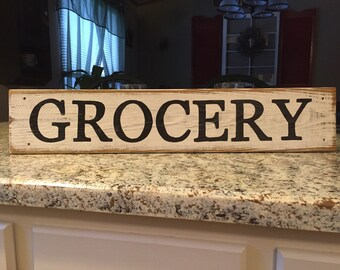 GROCERY SIGN wood grocery sign farmhouse sign farmhouse kitchen sign fixer upper sign grocery kitchen sign pantry sign kitchen decor