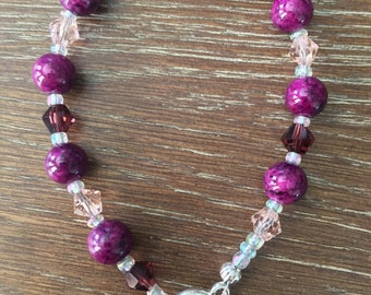 Purple Beaded and Crystal Bracelet with Toggle Closure