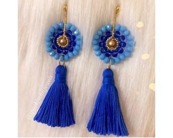 Blue Crystal Tassel Earrings, Bridesmaid Jewelry, Wedding Jewelry, Tassel Earrings, Statement Jewelry