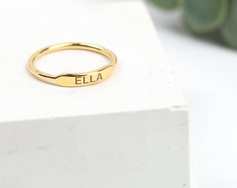 Personalised Skinny Bar Ring • Gold Name Ring • Custom Name Ring • Dainty Personalised Ring • Stacking Ring • Engraved Name Ring