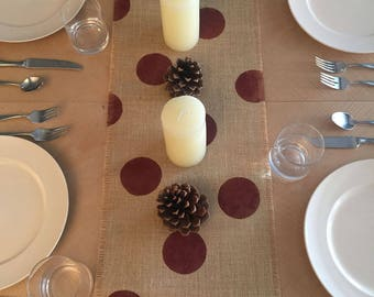 "12"" Wide Thanksgiving Dark Red Burlap Table Runner, Natural Burlap Table Runner, Thanksgiving Table Runner, Thanksgiving Decor"