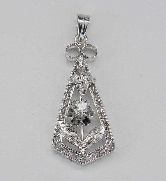 Diamond Drop Flower Pendant Antique Vintage Filigree 14K White Gold Circa 1920's