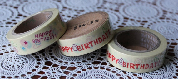 Scrapbook Supplies- 1 roll. Washi Tape. Happy Birthday - Little Laser Lab