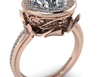 Catherine Round Forever One Moissanite Custom Floral and Vine Bezel Design with Diamond Halo Ring