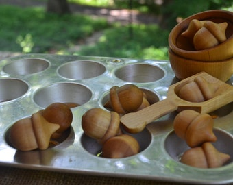 Children's Baking Set - Baking Tin and Wooden Acorns, Scoop and Bowls for the Waldorf Inspired Play Kitchen