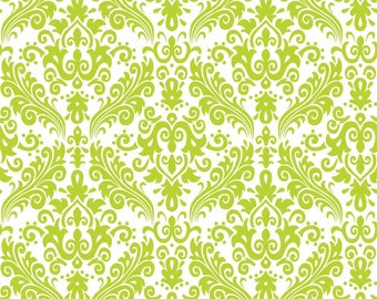 Hollywood Medium Damask Lime on White Fabric - 1 Yard