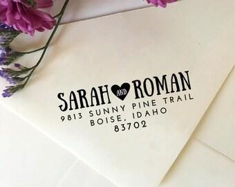 Return Address Stamp, Custom Address Stamp with Heart, Self-Inking Stamp, Wooden Stamp, Custom Wedding Stamp, Bridal Shower Gift