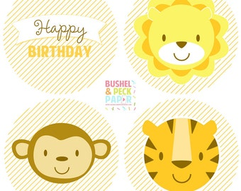 """PRINTABLE Baby Animal Party 2"""" Rounds - #DIY #Printable Instant #Download (for print at home: stickers, gift tags or cupcake toppers)"""