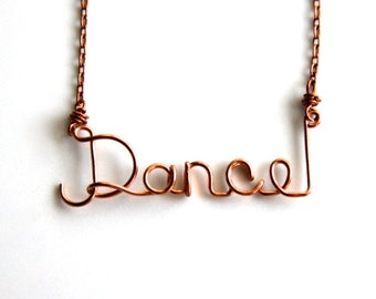 Gift for Dancer * Dance Gifts * Dance * Word Necklace * Wire Word Art * Wire Words * Custom Necklace * Wire Name * Dance Necklace