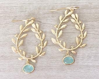 LAUREL | Gold Laurel Leaf Earrings | Bridesmaid Earrings Gold | Gold + Aqua Laurel Wreath Earrings | Gold Teardrop Aqua Dangle Earrings