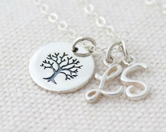 Silver Tree Charm Necklace, Personalized Tree Charm Necklace, Mother's Day Gift, Gifts For Mom, Personalized Gold Initial Charm Necklace