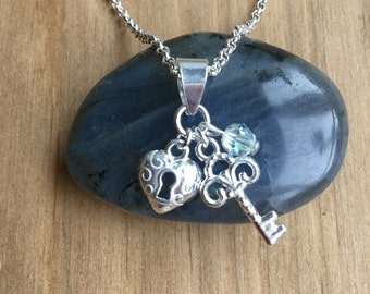 Key To My Heart with Swarovski Crystal Necklace - Sterling Silver