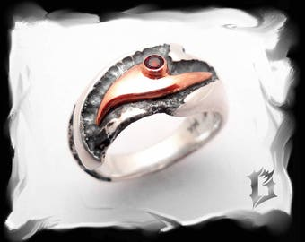 Oxidized sterling, 14k red gold with garnet ring, gothic inspiration - january stone | #516