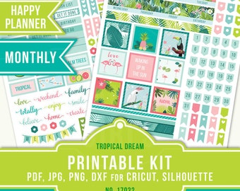 Exotic Planner Stickers, Happy Planner July Monthly Kit, July Planner Sticker, Tropical Planner Sticker, July Planner, MAMBI Planner, 17032
