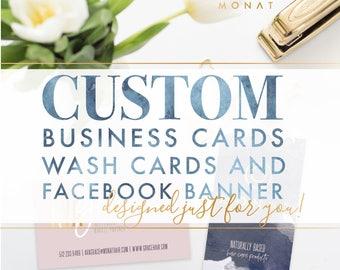 BUNDLE: Custom Business Cards + Facebook Banner + Wash Card Design by Ash Print House