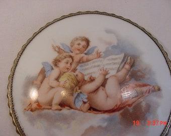 Vintage Angels / Cherubs Printed Porcelain Hand Mirror  18 - 1066