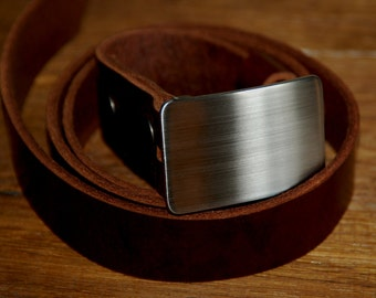 Boyfriend Gifts Brushed Stainless Buckle & Mahogany Leather Belt Men's Accessories For Suits Belt for Suits Gifts for Him  Belts Custom Cut