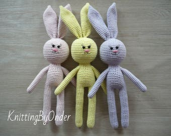Crochet bunny plush toy Cotton bunny amigurumi rabbit Crochet animal Newborn prop Bunny Easter rabbit Easter bunny Nursery decor Kids gift