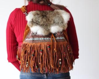 Boho backpack, hippie backpack, fringe backpack, festival bag, boho fringe bag, tribal bag, two in one bag, hippie bag, festival backpack