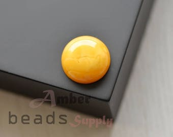 Baltic amber cabochon. Natural amber piece. Ring eyes. 1 piece. 2514