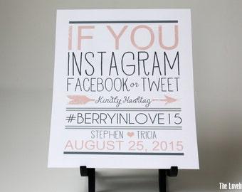 Wedding If you Instagram, Facebook or Twitter Sign -  Social Media Sign - Printable Hashtag Wedding Sign - Custom Color - PDF - DIY - AA4