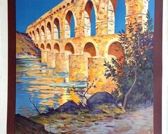 Vintage French Railways Pont Du Gard Tourism Poster A3/A2/A1 Print