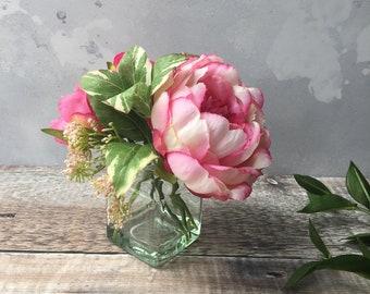 Pink Peonies Bouquet -  Silk Peony Flowers in Vase - Pink Silk Flower Arrangement -  Peony Arrangement - Floral Teacher Gift