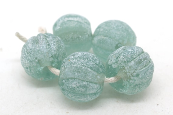 Aged Green Glass Melon Beads Made to Order