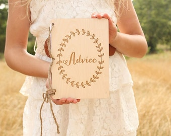 Advice Notebook Bridal Shower Gift Rustic Advice Book Wood Advice Book Laurel Wreath Advice For The Couple Baby Shower Gift Advice Gift