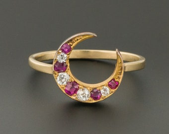 Crescent Moon Ring | Antique Crescent Ring | Diamond Crescent Moon Ring | Antique Pin Conversion Ring | 14k Gold Ring | Diamond & Red Spinel