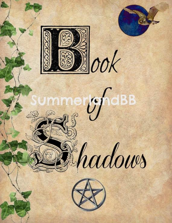Book of Shadows Cover Page Digital Download BOS Pages Wiccan