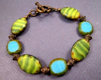 Picasso Bracelet, Blue Green and Brass, Bright Beaded Bracelet, FREE Shipping U.S.