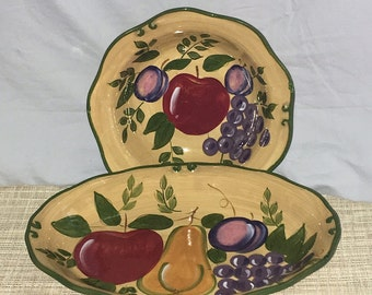 Home Trends Granada Fruit Pattern Serving Bowl and Oval Plate/Platter Have Chips