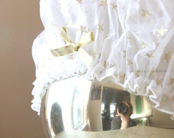 Vintage Mimi A La Mode Boudoir Shower Cap with Gold Stars, Fashion Shower Cap, Dressing Table, Gold Stars, Art Deco, Gold Bow, WTH-897