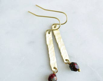 Dainty Bead Earrings, Hammered Brass and Dark Red Glass Bead, Choose A Color