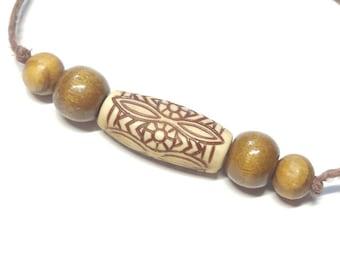 Tribal Brown Hemp Bracelet Handmade, Cocoa Hemp Jewelry, Beaded Hemp Bracelet, Wood Bead Hemp Bracelet, Friendship Bracelet, Jewelry.