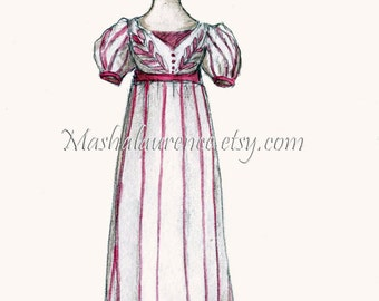 1820 Evening Gown.  Digital Print. 5x7. Jane Austen art.  Regency Fashions.