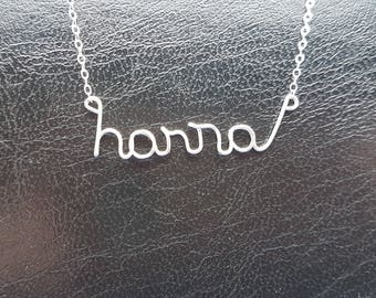 Name Pendant Hanna Sterling Silver Custom Wire Word  Necklace Designer in UK