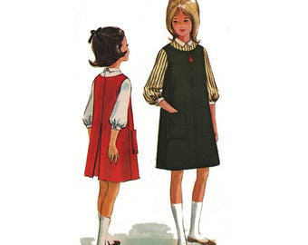 """McCall's 6999 Tween Girl Retro Jumper and Back Buttoned Blouse Designed by Helen Lee Vintage Sewing Pattern 1960s Size 12 Breast 30"""""""